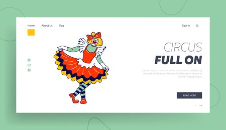 Big Top Circus Clowness Landing Page Template. Female Clown Character Smile Joker Girl with Crazy Face Wear Dress and Striped Stockings. Jester Performer Jester Entertainer. Linear Vector Illustration