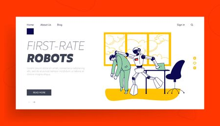 Artificial Intelligence Domination Competition Landing Page Template. Cyborg Kicked Human Character Away from Job. Robot Work Instead Man Fired and Thrown Out of Office. Linear Vector Illustration Çizim