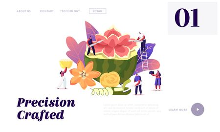 Carving Food Sculptures Landing Page Template. Tiny Characters Carving Huge Fruits and Vegetables. People Make Flower of Watermelon. Thailand Art of Fruit and Vegetable. Cartoon Vector Illustration