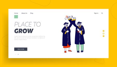 Aged Student Characters Graduating from University Landing Page Template. Senior Man and Woman in Mantle and Academical Cap Holding Diploma Celebrating Graduation. Linear People Vector Illustration