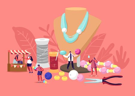 Handmade Craft Concept. Tiny Female Characters Jewelry Designers Create and Sell Bijouterie Necklaces, Earrings, Bracelets Using Colorful Beads and Diy Instruments. Cartoon People Vector Illustration