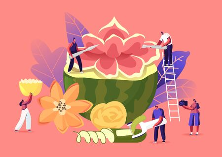 Tiny Characters Carving Huge Fruits and Vegetables. People Make Beautiful Flower of Watermelon. Traditional Thailand Art of Fruit and Vegetable Carving, Food Sculptures. Cartoon Vector Illustration