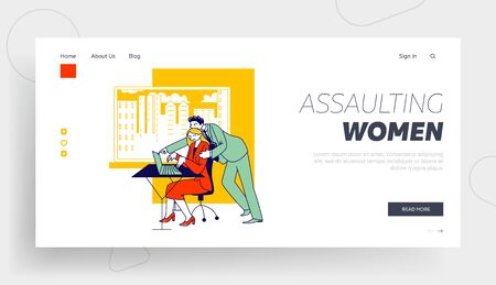 Sexual Assault, Harassment Landing Page Template. Company Boss Character Put Hand on Woman Shoulder at Workplace. Secretary Office Girl Victim of Lascivious Exaction. Linear People Vector Illustration 向量圖像