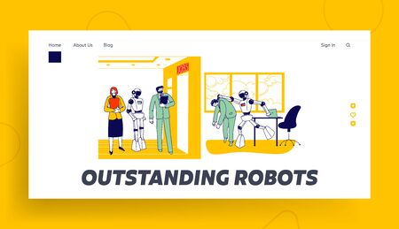 Human Characters Vs Robots Landing Page Template. Cyborg Kicking Employee Out of Office. Job Seekers Wait in Hall for Interview. Future and Artificial Intelligence. Linear People Vector Illustration