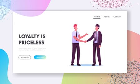 Customer Relationship Management Landing Page Template. Business Partners Men Handshaking and Partnership . Businesspeople Characters Meeting for Project Discussion. Cartoon People Vector Illustration