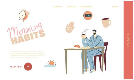 Male Character Morning Everyday Routine Landing Page Template. Young Man in Pajama and Slippers Have Breakfast at Home Sitting at Table Drinking Coffee and Eating Croissant. Linear Vector Illustration