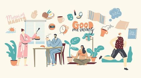 Morning Habits. Characters Daily Routine, Man and Woman Waking Up, Cooking Breakfast, Drinking Coffee Together at Home. Girl Doing Yoga or Stretching, Man Jogging. Linear People Vector Illustration Illusztráció