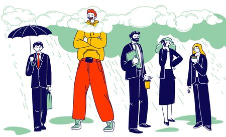 Happy Male Character in Bright Clothing Stand with his Head in Clouds surrounded with Sad Busy People in Formal Wear. Daydreaming, Creative Imagination and Positivity. Linear Vector Illustration