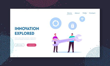 Tiny Male Characters Hold Huge Wrench Landing Page Template. Men with Spanner for Fixing Broken Thing, Technical Support Service Construction Tool Fix Computer Hardware. Cartoon Vector Illustration