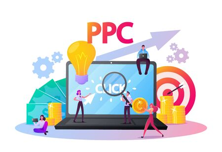 Pay Per Click Concept. Tiny Characters at Huge Computer Desktop with Cursor Clicking on Ad Button. Ppc Business, Cpc Advertising Technology, Sponsored Listing. Cartoon People Vector Illustration Иллюстрация