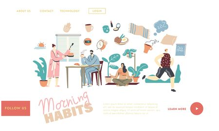 Morning Habits. Characters Daily Routine Landing Page Template. Man Woman Waking Up, Cooking Breakfast, Drinking Coffee. Girl Doing Yoga or Stretching, Man Jogging. Linear People Vector Illustration Illusztráció