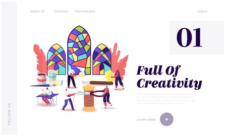 Stained Glass Producing Landing Page Template. Tiny Characters with Huge Tools Create Beautiful Windows made of Colorful Painted Pieces. Glasswork, Creative Hobby. Cartoon People Vector Illustration