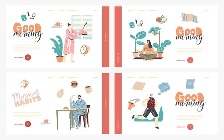 Morning Habits. Characters Daily Routine Landing Page Template Set. Man Woman Waking Up, Cook Breakfast