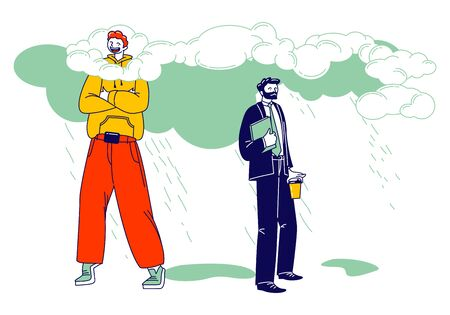 Happy Male Character in Bright Clothing Stand with Head in Clouds, Sad Businessman in Formal Wear Get Wet under Rain