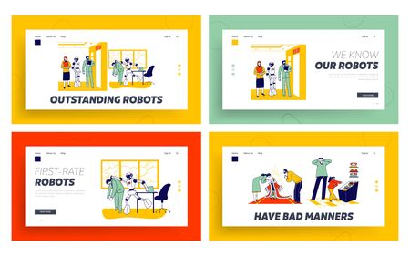 Human Characters Vs Robots, Spoiled Child Landing Page Template Set. Cyborg Kicking Employee Out of Office