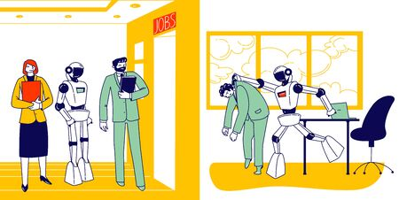 Human Characters Vs Robots Concept. Boss Cyborg Kicking Out Employee Out of Office. Job Seekers Waiting in Hall for Interview. Future and Artificial Intelligence. Linear People Vector Illustration