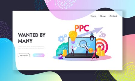 Pay Per Click Landing Page Template.Tiny Characters at Huge Computer with Cursor Clicking on Ad Button