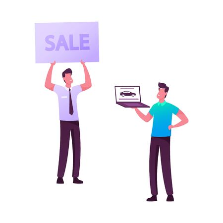 Salesman and Owner on Car Market. Dealer Character Holding Sale Banner, Customer Buying Automobile Choose Model Online. Young Man Buy Auto in Salon, Happy Purchase. Cartoon People Vector Illustration Vectores