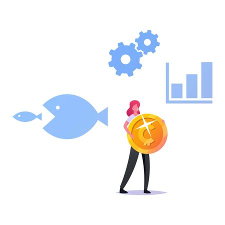 Tiny Female Character Carry Huge Golden Coin with Business Icons around Arrow Chart, Cogwheel Gears and Huge Fish Trying to Eat Small One. Merger and Acquisition Concept. Cartoon Vector Illustration