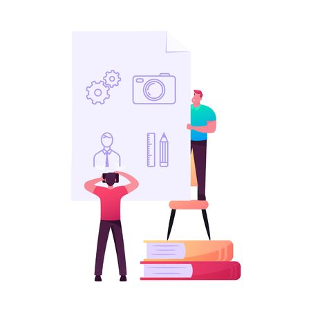 Tiny Male Character Holding Sheet with Symbols another Man Photographing on Camera. Employee Stealing Important Information, Espionage, Info Coding and Encryption. Cartoon People Vector Illustration Vettoriali