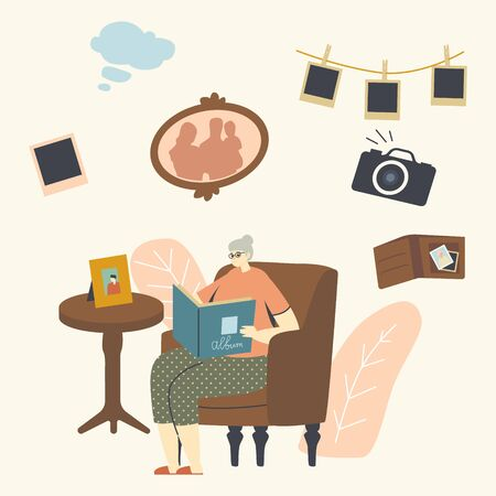 Senior Woman Character Sitting on Couch Watching Family Album with Pictures in Room, Aged Granny Remembering Past. Grandmother Sitting in Armchair at Table with Photo Frame. Linear Vector Illustration