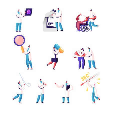 Set of Male and Female Doctors and Patients, Tiny Medic Characters Holding Huge Instruments, Magnifying Glass, Surgical Clamp and Thermometer, Pill, Xray Image. Cartoon People Vector Illustration