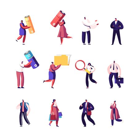 Set of Male and Female Characters Carry Huge Batteries, Office Folder with Documents and Magnifying Glass, Businessman with Briefcase, Woman with Shopping Bags. Cartoon People Vector Illustration
