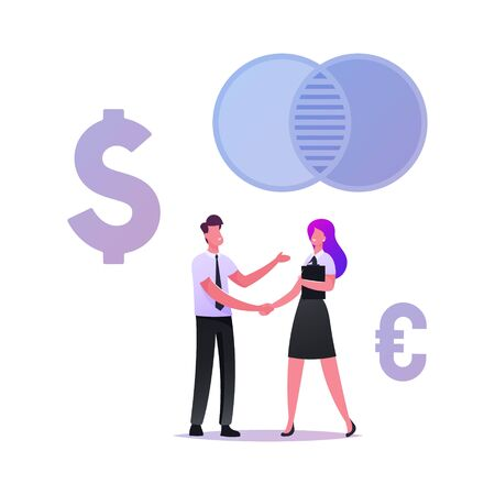 Businesspeople Meeting, Partnership Concept. Business Partners Handshaking after Merger and Acquisition Deal. Characters Shaking Hands during Agreement Negotiation. Cartoon People Vector Illustration