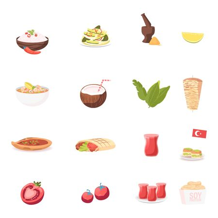 Set of Icons Rice with Chili Pepper, Salad with Cucumber and Mortar, Soup with Shrimps, Coconut Drink and Shawarma Ilustracja