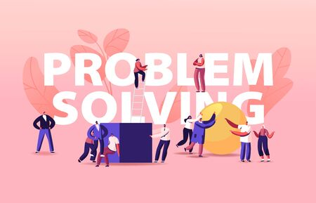 Problem Solving Concept. Tiny People Pushing Huge Cube and Ball Figures. Characters Solve Complicated Tasks Stock fotó - 150406481