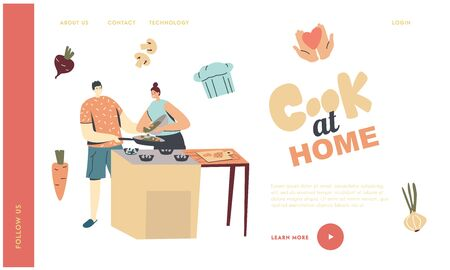 Family Prepare Dinner Landing Page Template. Young Loving Couple Characters Cooking Together on Kitchen. Every Day Routine, Love, Human Relations, Romantic Meal. Linear People Vector Illustration