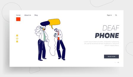 Communication, Retro Transmitter Appliance Landing Page Template. Business Men Characters Speaking by Deaf Phone Ilustracja