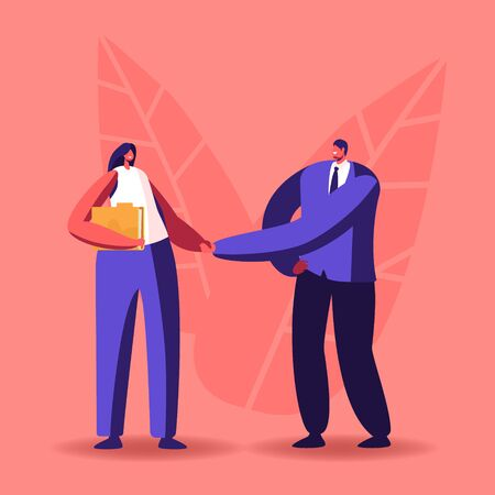 Company Hiring Manager Welcoming New Employee. Business Man Character Greeting Applicant with Work Appointment. Businessman Shaking Hand to Recruit Girl in Office. Cartoon People Vector Illustration