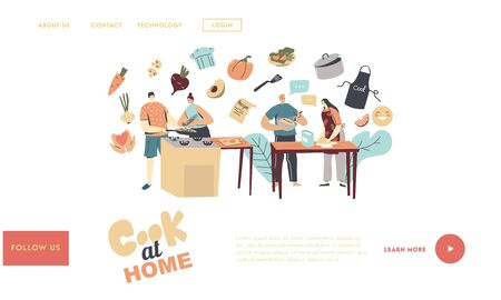 Family Prepare Dinner Landing Page Template. Couple Characters Cooking on Kitchen with Fresh Products on Table. Every Day Routine, Relations, Romantic Evening Meal. Linear People Vector Illustration Иллюстрация
