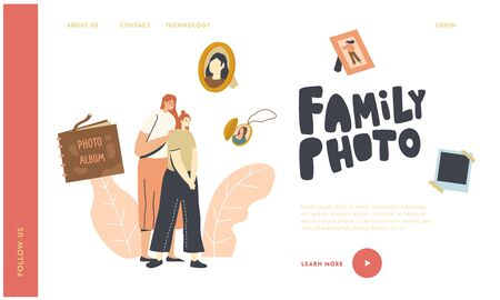 Family Characters Visiting Salon for Making Photo Landing Page Template. Mother Hugging Teen Daughter Surrounded with Album, Family Pictures in Frame and Medallion. Linear People Vector Illustration