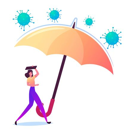 Female Character Under Huge Umbrella Protecting from Attacking Coronavirus Cells. Covid19 Insurance Concept Ilustracja