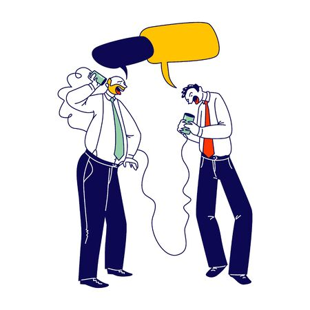 Business Men Characters Speaking by Vintage Deaf Phone or Can Telephone made of Tin Jars Connected with Rope or String. Communication, Retro Transmitter Appliance. Linear People Vector Illustration