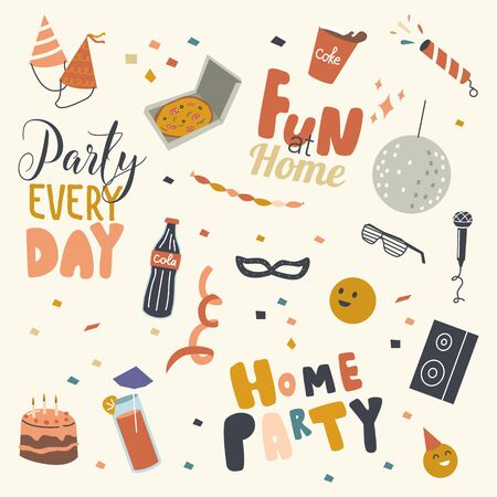 Set of Home Party Icons Birthday Hats, Stroboscope and Cola Cup and Bottle, Festive Cake with Candles, Dynamics and Cocktail, Sunglasses, Karaoke Microphone and Pizza Box. Linear Vector Illustration