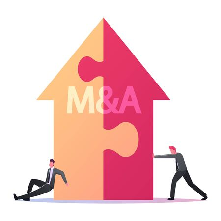 Merger and Acquisition Concept. Tiny Businessmen Characters Assemble Huge Arrow made of Puzzle Pieces with M and A Letters. Corporations Connection and Partnership. Cartoon People Vector Illustration Ilustração