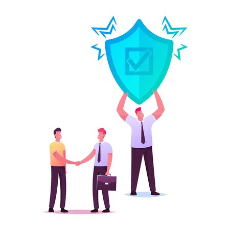 Health, Life or Property Insurance Concept. Agent Character Shaking Hand to Client, Man with Huge Shield Ilustracja