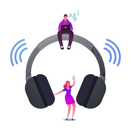 Young Characters Listen Music on Player or Mobile Phone Using Wireless Headphones Ilustracja