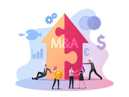 Merger and Acquisition Concept. Characters at Huge Arrow made of Puzzle Pieces, Business People Shaking Hands Finishing Up Meeting, Business Etiquette, Congratulation. Cartoon Vector Illustration