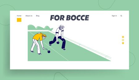 Senior Men Playing Bocce Landing Page Template. Lawn Bowling Competition, Couple of Elderly Friend Characters