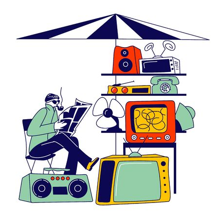 Seller Sitting on Chair Reading Newspaper and Smiling Pipe. Male Character Sell Old Technique on Flea Market or Garage Sale. Vintage Tv, Telephone, Tape Recorder and Fan. Linear Vector Illustration