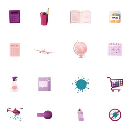 Set of Icons Calculator, Pencils and Book, Money for Travel, Airplane, Globe and Calendar, Sanitizer