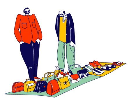 Couple of Illegal Sellers Offer Assortment of Women Bags, Shoes and Accessories on Illegal or Flea Market. Hucksters Male Characters of Suspicious Appearance Sale. Linear People Vector Illustration Illustration