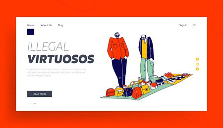 Hucksters Male Characters Sale Goods Landing Page Template. Couple of Illegal Sellers Offer Assortment of Women Bags, Shoes and Accessories on Illegal or Flea Market. Linear People Vector Illustration