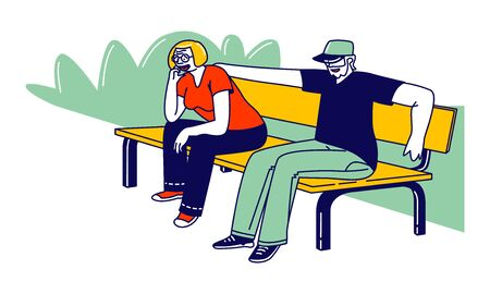 Senior Couple Characters Sitting Together on Bench at Nature Landscape Background. Elderly People Walk Outdoor, Family Love, Sparetime. Old Man and Woman Loving Relation. Linear Vector Illustration