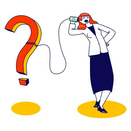 Female Character Speaking by Deaf Phone or Can Telephone made of Tin Jars Connected with Rope or String with Huge Question Mark. Retro Appliance Communication, Faq Concept. Linear Vector Illustration Stock fotó - 150294146