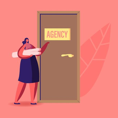 Recruitment, Job Hiring and Interview Concept. Unemployed Woman Searching Work. Girl Applicant Character with Project or Cv in Hand Knocking Agency Office Door to Enter. Cartoon Vector Illustration